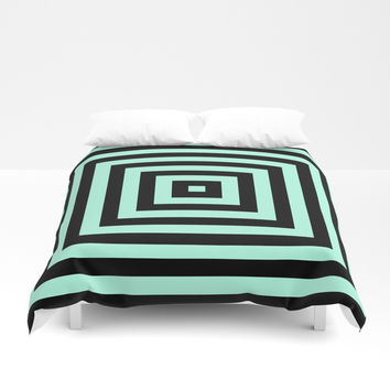Graphic Geometric Pattern Minimal 2 Tone Infinity Square Shapes (Mint Minty Green & Black) Duvet Cover by AEJ Design