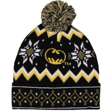 Batman Fair Isle Pattern w/ Pom DC Comics Licensed Adult Beanie Hat - Black/Ylw