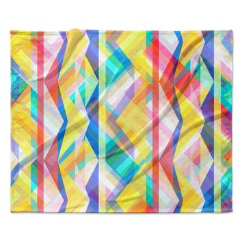 "Miranda Mol ""Triangle Rhythm"" Pastel Geometric Fleece Throw Blanket"