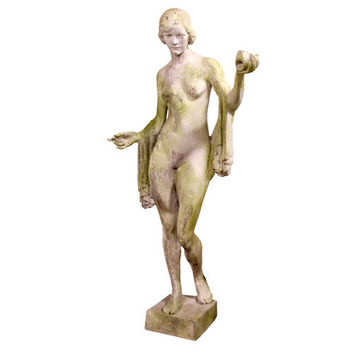 Woman Nude with Shell Statue Lifesize Garden Statuary 63H - 4743