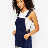 ASOS | ASOS Denim Overall Short with Rolled Hem in Rich Blue at ASOS