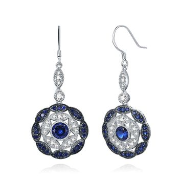 Merthus Antique Vintage Cluster Blue Sapphire Statement Hook Dangle Earrings 925 Sterling Silver