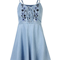 Vintage Embroidered Mini Dres Floral Denim Strap Dress For Women