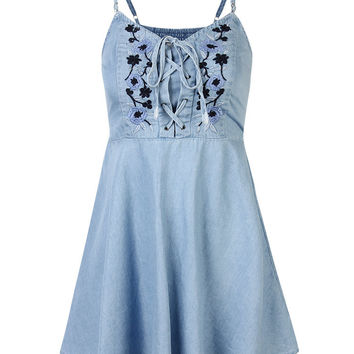 77ed4ac8dfa16 Vintage Embroidered Mini Dres Floral Denim Strap Dress For Women
