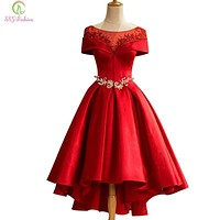 SSYFashion New Luxury Red Satin Evening Dress The Bride Married Banquet Boat Neck Crystal Beading Tea-length Party Formal Gown
