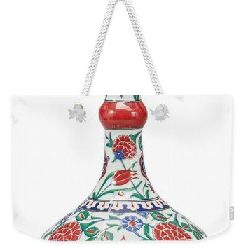 An Ottoman Iznik Style Floral Design Pottery Polychrome, By Adam Asar, No 5 - Weekender Tote Bag