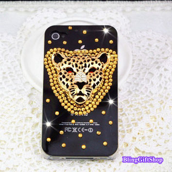 leopard head iphone 5s case,Crystal Leopard Bling iphone 5 case,bling gem iphone 5c case,cute iphone 4 case,iphone 4s case,Y009