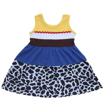 Girls Jesse Summer Dress Princess Blue Donald Duck Dress Moana Belle Mermaid Minnie Mickey Party Cosply Dress Wonder Women