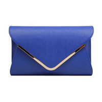 Ocean Blue PU Leather Envelope Clutch Bag