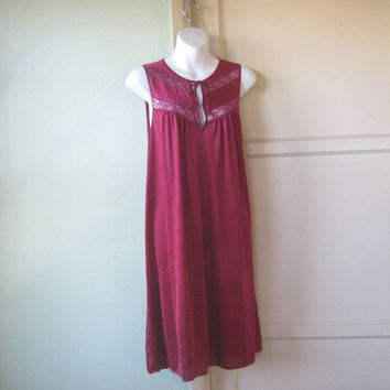 Deep Burgundy Red Nightgown; Lacy Bodice - Sexy Claret Red Nylon Nightgown - Large-XL Sleeveless Nightie