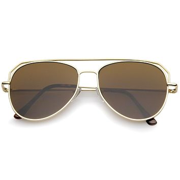 Retro Modern Geometric Flat Top Metal Aviator Sunglasses A771
