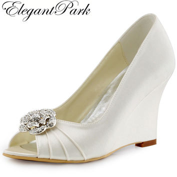 Woman Shoes Ivory High Heel Wedges Peep Toe Rhinestones Pumps Satin Bridesmaid Bride Wedding Bridal Evening Prom Shoes WP1547