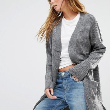 JDY | J.D.Y Ribbed Longline Cardigan at ASOS