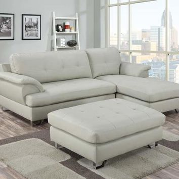 3 pc calistoga II collection contemporary style beige faux leather upholstered sectional sofa with ottoman
