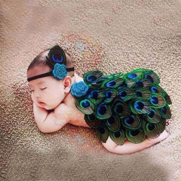 Newborn Baby Girls Boys Crochet Knit Costume Photo Photography Prop Outfits Peafowl