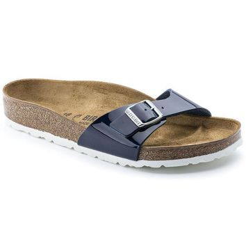 Sale Birkenstock Madrid Birko Flor Patent Dress Blue 1005312 Sandals