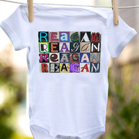 Personalized baby bodysuit featuring the name REAGAN showcased in photos of letters from actual signs; Baby Onesuit; Baby gift; Baby shower