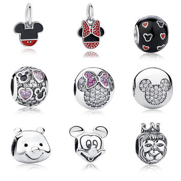 100% Authentic 925 Sterling Silver Cute Minnie & Miky Charm Beads Fit Pandora Bracelet Pendants DIY Original Jewelry