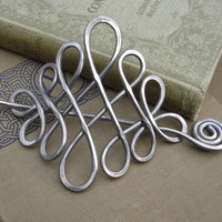 Large Looping Celtic Crossed Knots Aluminum Hair Pin, Barrette, Hair Slide, Shawl Pin - Long Hair Accessory, Celtic Knot Fashion Accessories