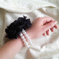 Wrist Corsage, Black chiffon satin flower, bridesmaid Corsage hand made silk flower faux pearls bracelet