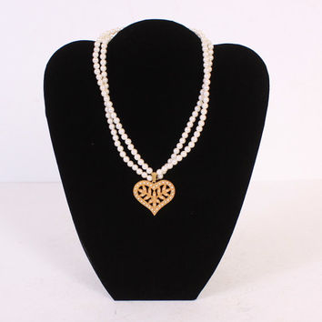 Vintage 60s Miriam HASKELL NECKLACE / 1960s Signed Double Pearl Strand Gold Heart Pendant Necklace