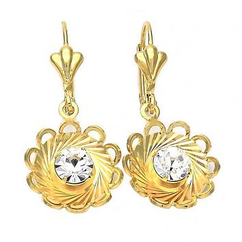 Gold Layered 02.32.0275 Dangle Earring, Flower Design, with White Cubic Zirconia, Diamond Cutting Finish, Gold Tone