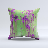 Green Metal with Purple Rust  Ink-Fuzed Decorative Throw Pillow