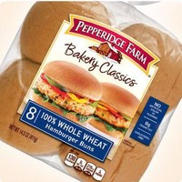 PEPPERIDGE FARM 100% WHEAT HAMBURGER BUNS 14.5 OZ 8 CT