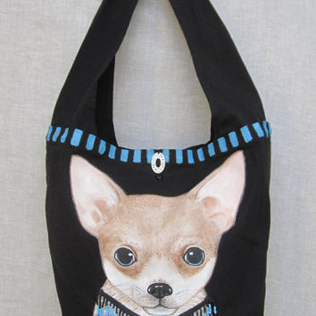 Chihuahua Dog bag, Puppy Bag, Hand Painted Bag, Canvas Bag, Shoulder Bag, Dog Art, Handmade Bag, Dog lovers, Travel Bag, Gift item