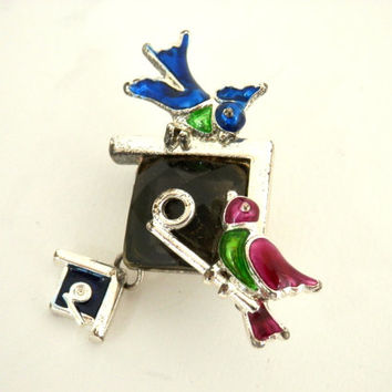 Enameled Bird & Birdhouse Brooch Smokey Grey Crystal
