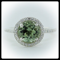 Green Amethyst Engagement Ring Diamond Side Stones 14k Gold