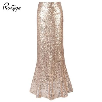 2017 RUIYIGE Women Sexy Vintage Long Maxi Sequined Skirt Trumpet Solid High Waist Plus Size Ladies Party Club Mermaid Skirts