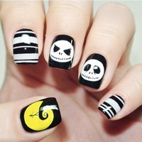 New 24 pieces Halloween Skull Cool Style 3D Acrylic Classical Plastic Art  Fake false Sticker Nail Tips Free Glue Gel [N3072]