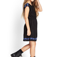 FOREVER 21 GIRLS Embroidered Pleated Dress (Kids) Black/Navy