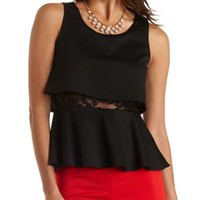 Peplum Top with Crop Illusion by Charlotte Russe