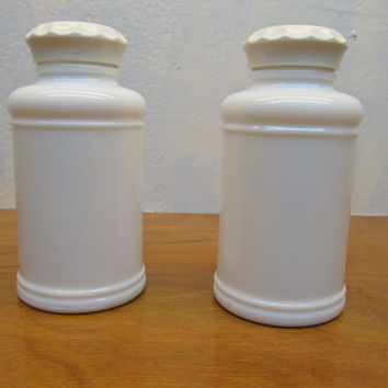 SET OF VINTAGE MILK GLASS APOTHECARY BOTTLES WITH LIDS