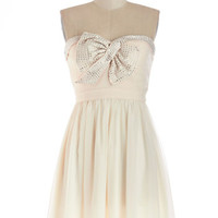 ModCloth Mid-length Strapless A-line High-Spirited Hostess Dress