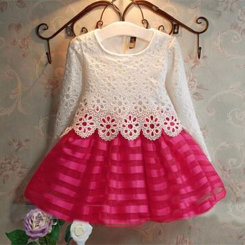 2016 Summer New Lace Vest Girl Toddler Dress Baby Girl Tutu Crochet Princess Dress Children Clothes Kids Party Costume Ball