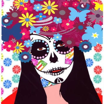 skull flower girl art print Day Of The Dead zombie gothic pop skeleton punk rock