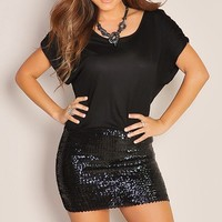Mini Black Sequin Oversized Tee Little Black Club Dress