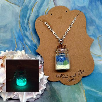 Beach Necklace, Beach Jewelry, Nautical Necklace, Glow in the dark necklace, Sea glass necklace, tiny bottle necklace, Ocean in a bottle