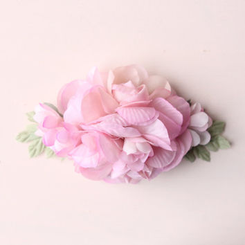 Pink flower clip, Bridal hair clip, Wedding headpiece, Bridal head piece, Pink blush clip