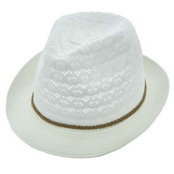 Womens White Cotton Crochet Lace Fedora Hat Brown Braided Leather Cord Accent UV Protection 50+