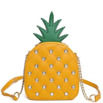 Girls women messenger bags pineapple pattern package diamond chain bag in shoulder bag high quality handbag designer
