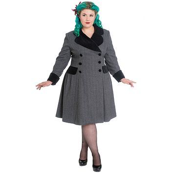 Hell Bunny Plus Two Tone Gray Tweed Foxy Pinup A-line Flare Double-breasted Coat