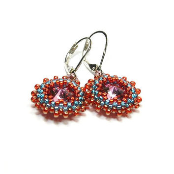 Swarovski Rivoli Earrings. Beaded Rivoli Earrings. Seed bead earrings. Beaded earrings. Bohemian jewelry.