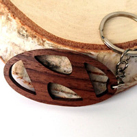 Wooden Hyundai logo Keychain, Walnut Wood, Hyundai Owners Keychain, Car Keys, Friendly Green materials