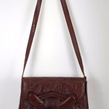Hand Tooled Leather Purse Pyramid Design Mexico Aztec or Mayan  Vintage 1980's