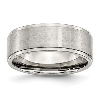 Brushed Ridged Edge Comfort Fit Ring in Stainless Steel - 8 Mm