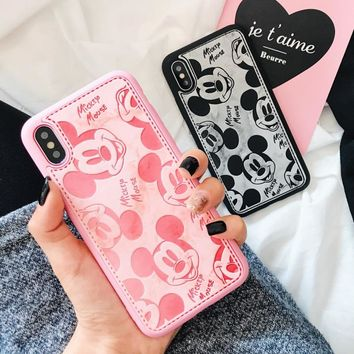 Leather Case For iphone 7 Plus Cover Cartoon Mickey Mouse Phone Cases For iPhone 6 6s 7 Plus 8 Plus Phone Covers For iPhone x